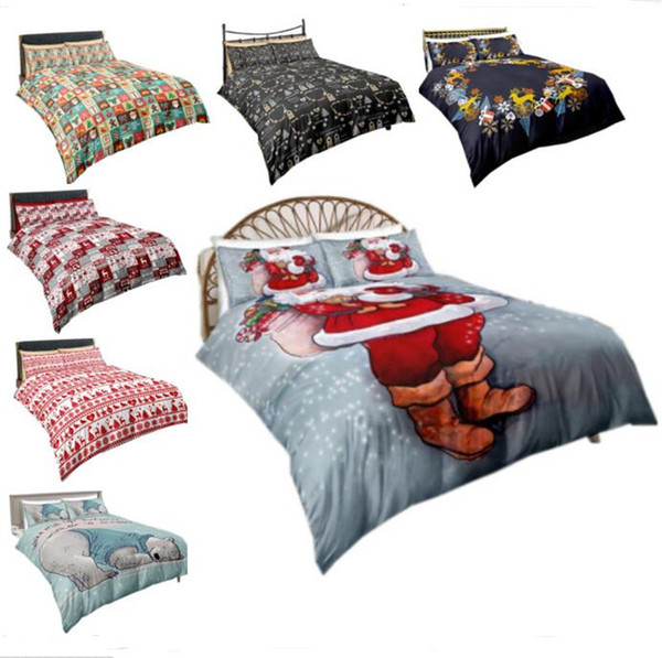 Christmas Bedding Sets Quilt Cover Pillows 3D Cartoon Printing Duvet Cover Supplies Three-piece Suit Santa Claus Printed Bedroom Bedding