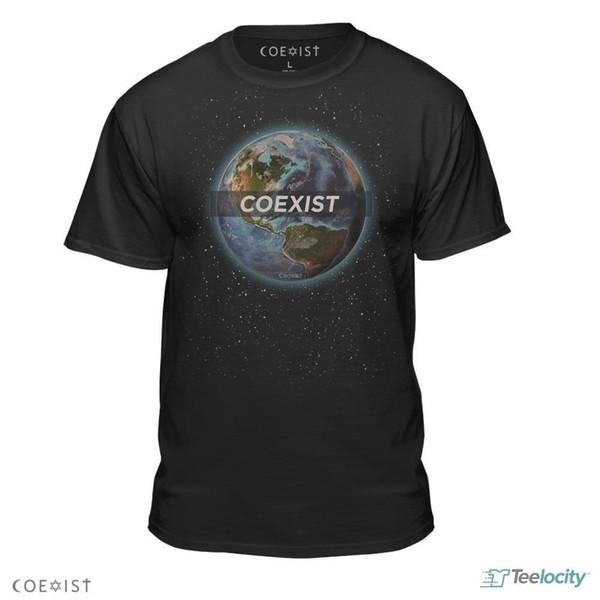 Coexist Official Earth Design Peace Hugs Yoga Karma Jewish Cross Tee T-Shirt New