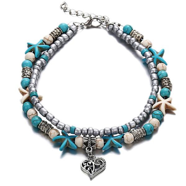 top popular European and American fashion double foot chain starfish yogic beach hollowed out peach heart pendant chain hand chain 2019