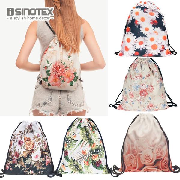 Fashion New Storage Bag 3D Flowers Printed Women Drawstring Bag Floral Paern 30*39cm/11.8*15.4'' 1PCS/Lot