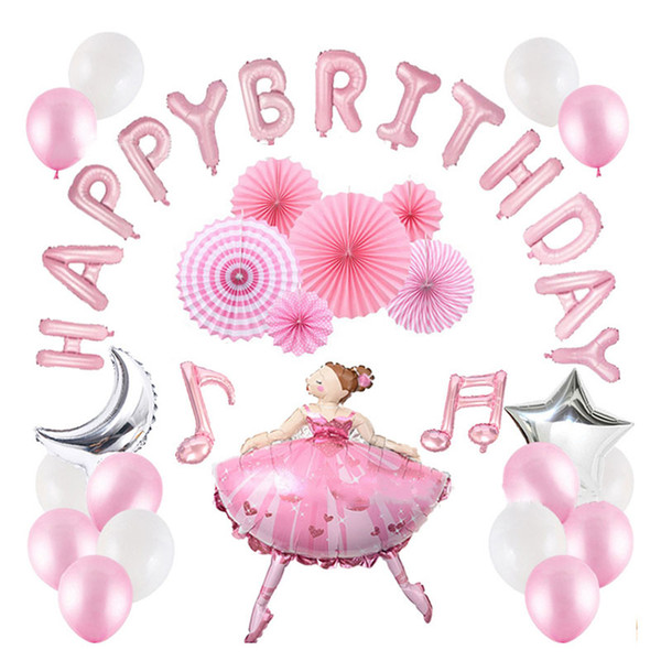 Ballet Girl Moon Music Note Paper Fan Happy Birthday Balloons Combination Kit