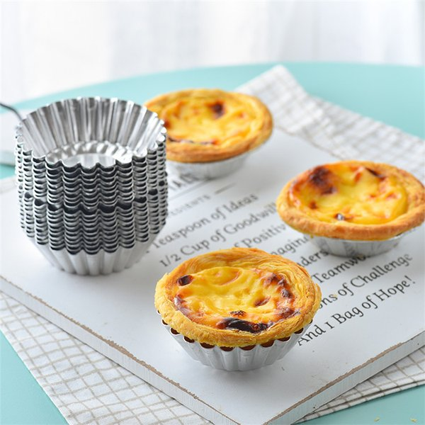 Hot 200pcs Egg Tart Mould Aluminum Cupcake Cake Cookie Mold Pudding Mould Baking Tool Jelly mould T1I105
