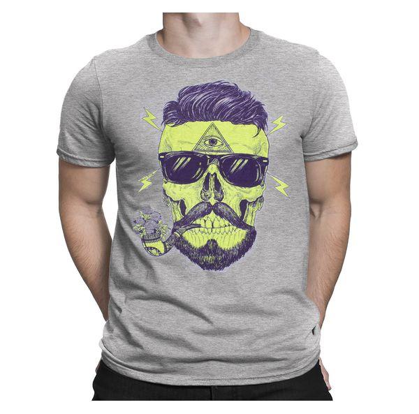 Bearded Skull Illuminati Tattoo Pipe Retro Hipster BEARD Mens T-Shirt Gift Tee Cool Casual pride t shirt