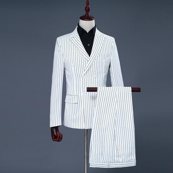 Men's Two Piece Set White Stripe Dress Suits Wedding Suits For Men Tuxedo Gentle Modern Blazer Men Suits