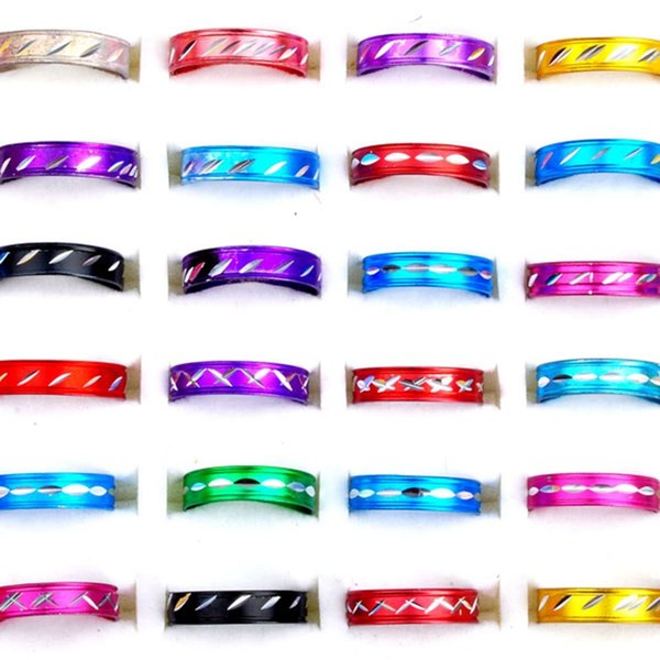 500pcs Jewelry Mix Fashion Aluminum Rings Bulks Multicolor Band Rings Finger Rings Jewelry RA01