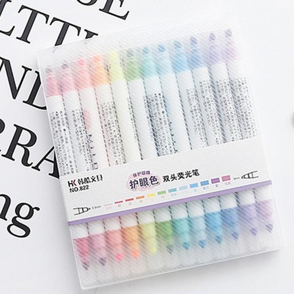 12 Pcs/Set Mildliner Pens Mild liner Double Headed Fluorescent Pen Cute Art Highlighter Drawing Mark Pen Japanese Stationery