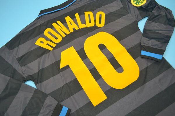Vintage Calcio MAGLIA1998 Inter Retro Ronaldo Uzun kollu Forması Klasik Milan Futbol Gömlek Maillot de Ayak Camiseta