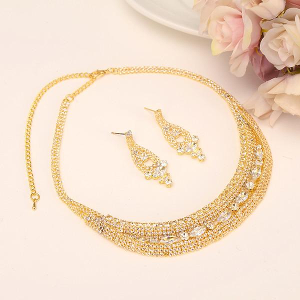 Fleur de pierre d'or ensembles de bijoux de mariage Cubic Zirconia Élégant Boucle d'oreille de fiançailles pour femmes filles charmes cadeau Accessoires