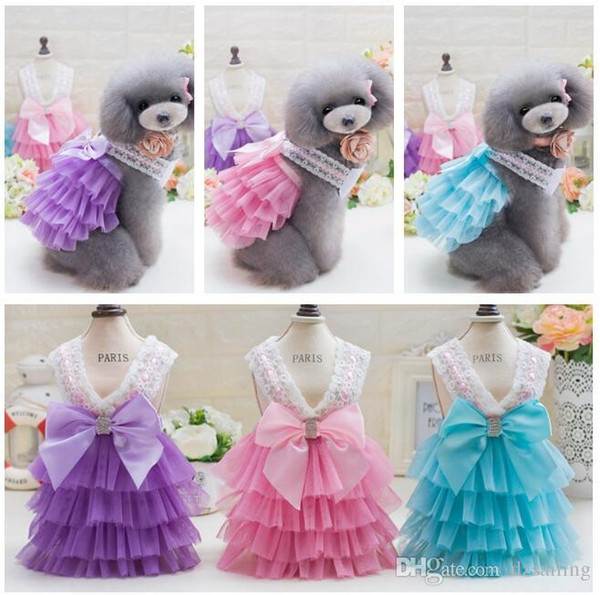 pet dog dresses 3 colors puppy lovely sweet princess spring summer pet skirt clothes for small dogs Teddy Bichon S/XXL T1719