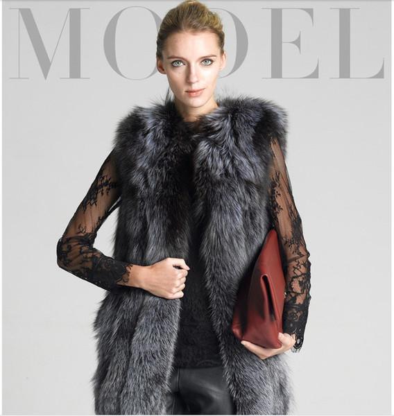 Faux Silber Fuchspelz Weste Jacke Dicke Warme Mittel Lange Weste Luxus Mantel Für Frauen S-4XL Plus Größe Casaco de falso pele E61