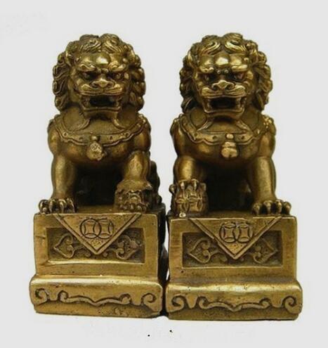 Christmas China Chinese Brass Folk Fengshui Foo Fu Dog Guardion Door Lion Statue Pair Halloween