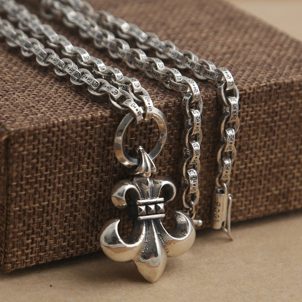 Luxury brand new 925 sterling silver fashion jewelry vintage American style thick chain with anchor cross pendant antique silver necklace