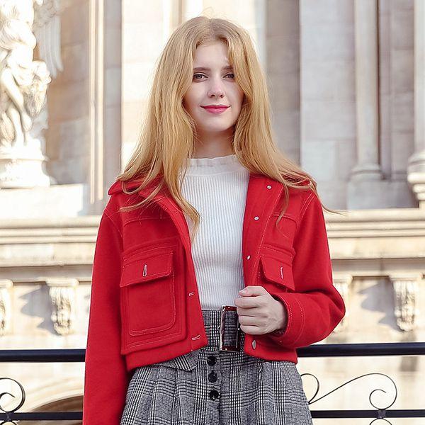 2018 New Fashion Winter Women Red Wool Coat Lapel Single Breasted Short Wool Handmade Coats KF97036N