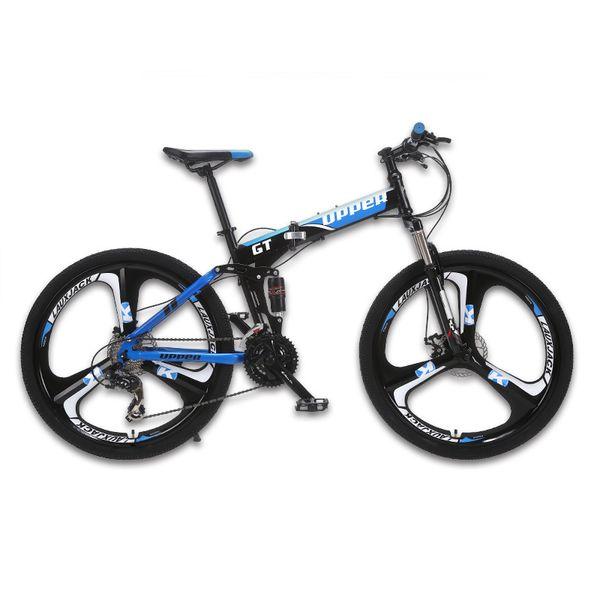 wholesale Mountain bike two-suspension system steel folding frame 24 speed Shimano mechanical brake discs alloy wheels