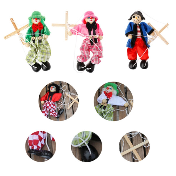 top popular Pull String Puppet Marionette Joint Activity Doll Wooden Vintage Child Toy 2021