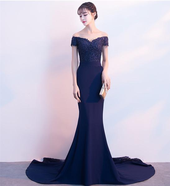 Patchwork lange Brautjungfer Kleider mit Perlen 2019 Navy Blue Mermaid Prom Kleider Applikationen Party Kleid Schnelle Lieferung