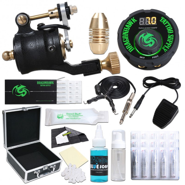 Rotary Tattoo Machine Kit Professional Tattoo Gun Needles Power Supply Foot Pedal Clip Cord Black Ink with Carry Case