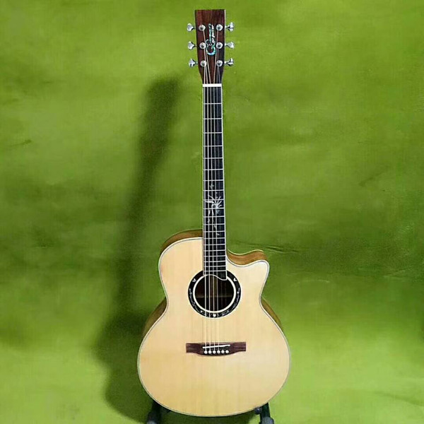 2018 New Style China Acoustic guitar 41 inch Auditorium vase inlay fretboard custom made natural solid spruce Chinese acoutic guitars