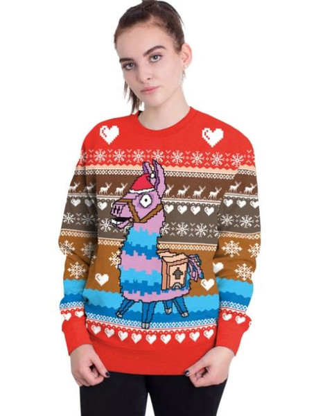 Joker Christmas Sweater.2018 Popular Models Christmas Costumes New Christmas Day Trojan Print Sweater Joker Casual Loose Tops Wholesale Sales Nurse Halloween Costumes Elmo