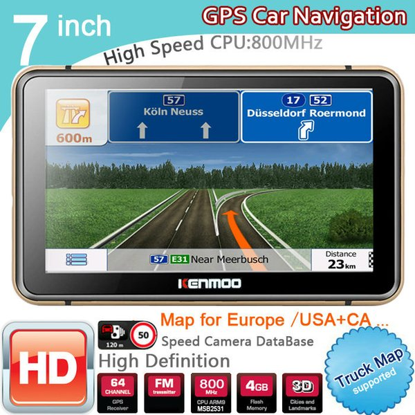 New 7 inch HD GPS Car Navigation 800M/FM/8GB/DDR3 2017 Maps For Russia/Belarus Europe/USA+Canada TRUCK Navi Camper Caravan