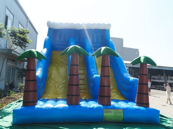 Amusement park games pump outdoor Jumping water slide giant inflatable slide