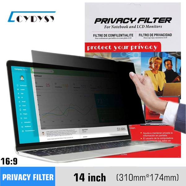 best selling 14 inch Anti-glare Privacy Filter screen protective film for Widescreen (16:9 Ratio) Laptop monitor 310mm*174mm