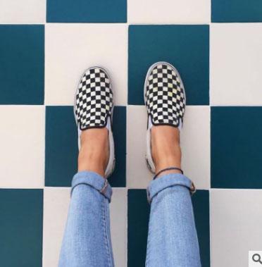 2018 WomenMen Kanvas Ayakkabılar Moda Paten Casual Ayakkabı Kadın Damalı Sepeti Üzerinde Kayma Yassı Tenis BOYUTU 35-44