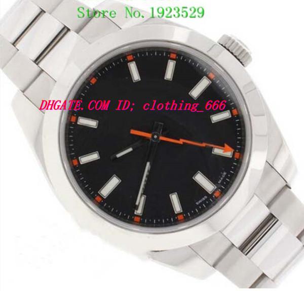 Luxusuhren Neue Armbanduhren Kristall Schwarzes Zifferblatt 116400 Stailess Stahl Armband 40mm Automatische Sport Herrenuhr