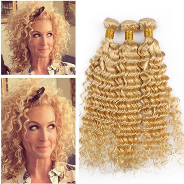 9A Russe Blonde Tissage De Cheveux Humains Vague Profonde # 613 Blonde Vierge Remy Faisceaux De Tissage De Cheveux Humains 3 Pcs Lot Vague Profonde Trames De Cheveux Extensions