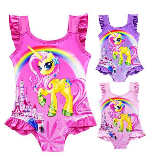 Hot 6 design INS Unicorn Swimwear One Piece Bowknot Swimsuit Big Kids Summer Cartoon Infant Swim Bathing Suits Beachwear