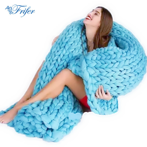 Wholesale- Soft Thick Line Giant Yarn Knitted Blanket Hand Weaving Photography Props Blankets CrochetLlinen Soft Knitting Blankets