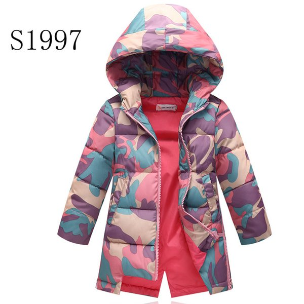 Kids Winter Coat 2018 New Brand Baby Winter Feather Parkas For Teenagers Girls Warm Printing Camouflage Coat High Quality 5-12 T