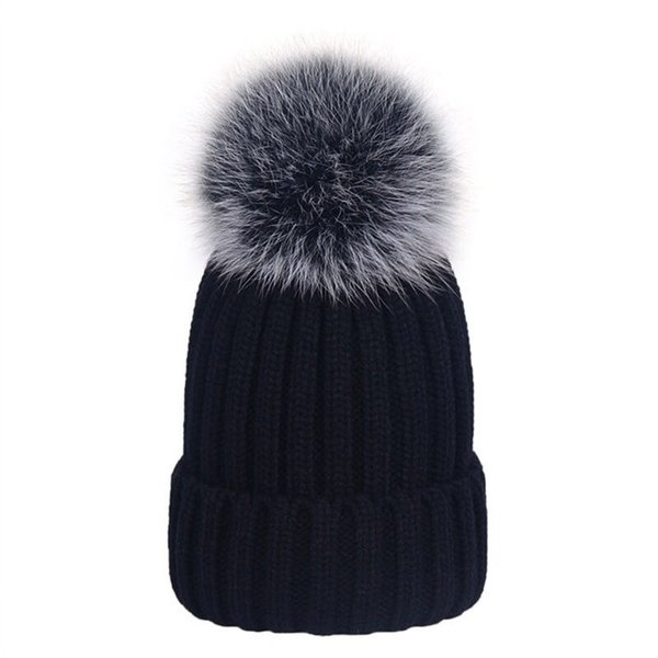 "Kid children child-Soft 5"" black white frost Fur Real Genuine fox fur With Pompom Ball Knitted Hat Beanie Cap"
