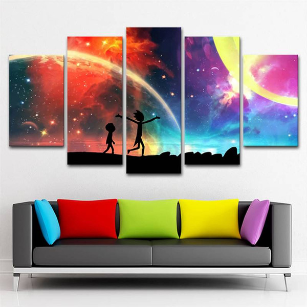 Printed Canvas Frame Hd Home Decor Modern 5 Panel Rick And Morty Landscape Living Room Pictures Painting Wall Art Modular Poster