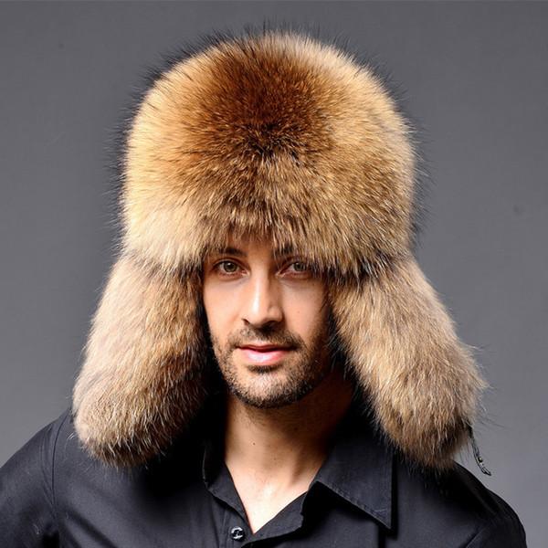 RaccoonLamb pelle russo uomo Cap Ushanka Trapper Cappelli per cuscinetti in gomma di inverno delle donne Cappello di pelo sintetico Cossack