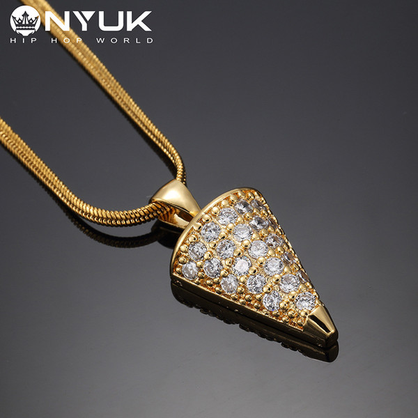 Small Full Crystal Rhombus Shape Pendant Necklace Hip Hop Pendants Necklace for Men Charm Jewelry Golden Silver