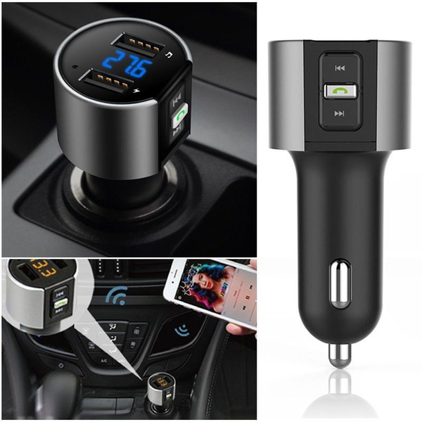 2018 High-Quality Wireless In-Car Bluetooth FM Transmitter Radio Adapter Car Kit Black MP3 Player USB Charge DHL UPS Free Shipping MORE 20PC