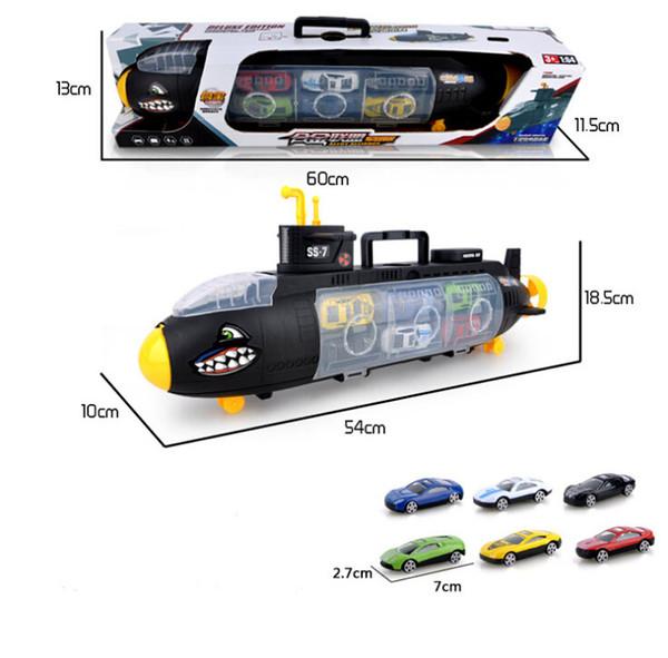 Sous-marin de jouet modèle Shark de jouets d'enfants avec 6 modèles de voiture d'alliage modèles de stockage portatif de boîte de cadeau
