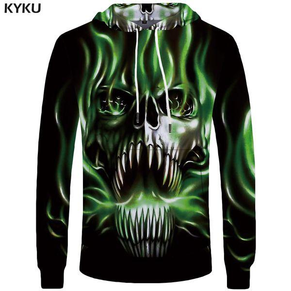 KYKU Brand Skull Hoodie Men Punk 3d Printed Black Streetwear Green Flame Mens Clothing Male Long Hoodie Sweatshirt New Funny