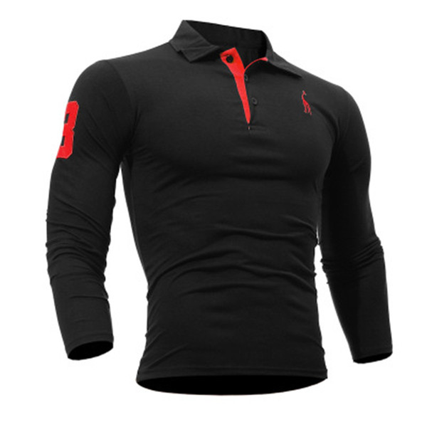 Mens Polo Shirt Brands Europe Male Long Sleeve Fashion Casual Slim Solid Deer Embroidery Long Sleeve Trim Leisure Polo Jerseys Clothes