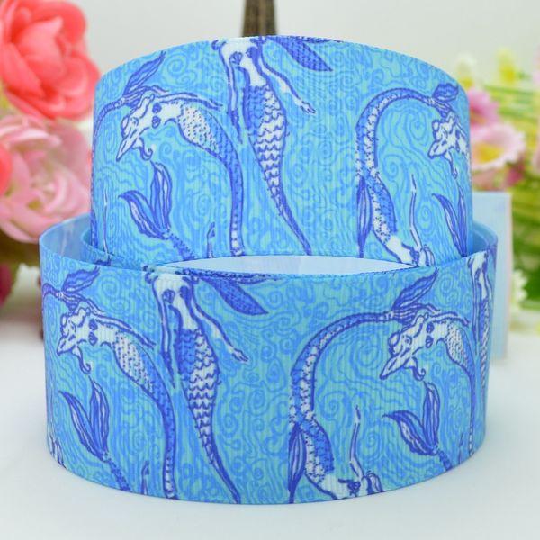 "Lilly Ribbons 1.5"" 38mm Mermaid Printed Grosgrain Ribbon DIY Baby Hairband Bow Ribbon Hair Accessories Decorating Garment & Hat 50Yards"