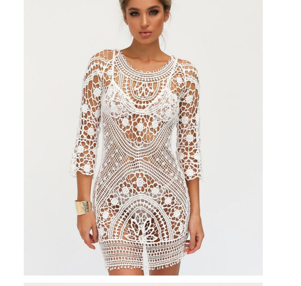 ec88365ae0b1 Summer Women Bathing Suit Lace Crochet Bikini Cover Up Swimwear Summer  Beach Dress White Boho Sexy