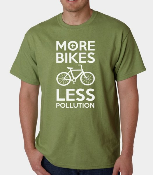 2018 Summer Style More Bikes Less Pollution t-shirt GREEN ECO ENVIRONMENT WIGGINS CYCLINGS BIKING High Quality Casual Clothing