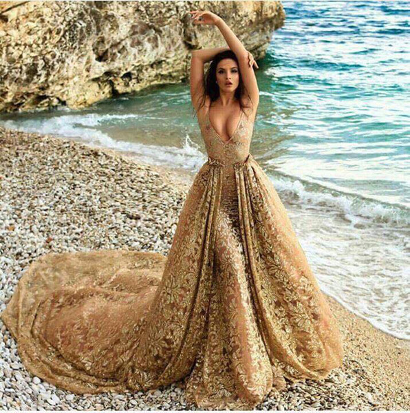 Gorgeous V-Neck Applique Lace Prom Gown Formal Evening Dresses with Detachable Tail Zipper Back Party Dress Gold Bridal Gown