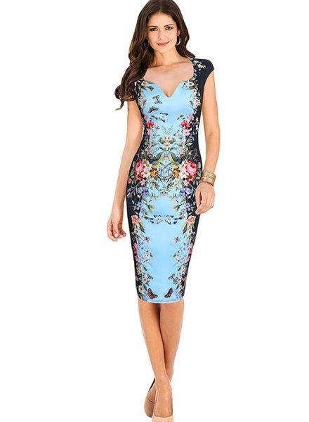 European Women Clothing Plus Size Print Dress For Women Cheongsam Style  Elastic Pencil Dress Knee Length V Neck Drop Shipping White Lace Dress  Casual ...