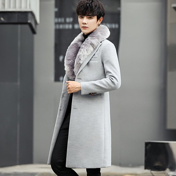 Mens Winter Wool Coats And Jackets Long Sport Button Slim Fit Coats Cotton Clearance Mens Parka Big Size 4XL Gray