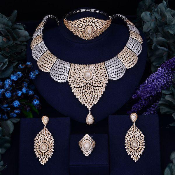 Godki Luxury Women Nigerian Wedding Naija Bride Cubic Zirconia Necklace Ring Bangle Earring Dubai Jewelry Set