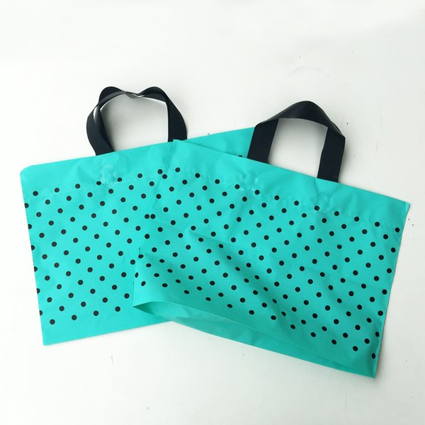 Green Polka dot Plastic gift bags,plastic shopping bag,Party Favor Bags with Handle 50pcs/lot