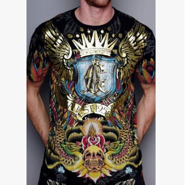 Summer men t-shirt skull crown wings print tshirt Short-sleeved personality T-shirt Casual tees tops