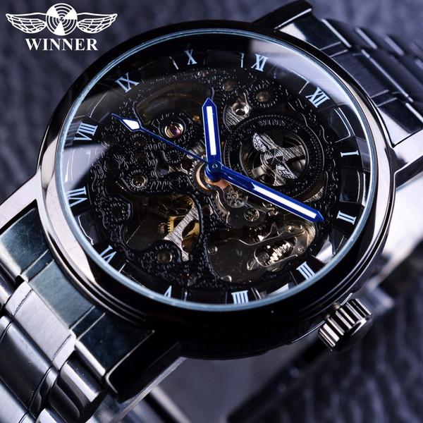 Ganador Transparente Steampunk Montre Homme negro retro casual para hombre relojes Top Brand lujo completo acero esquelético reloj mecánico